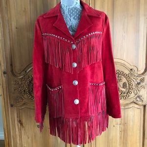 Vintage red suede fringe Western Amigos jacket S